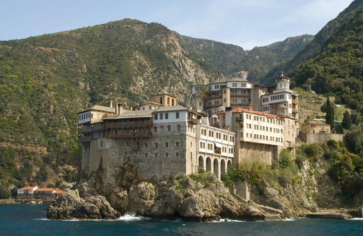 Gregoriou monastery, Mount Athos, Halkidiki, Greece on ocean